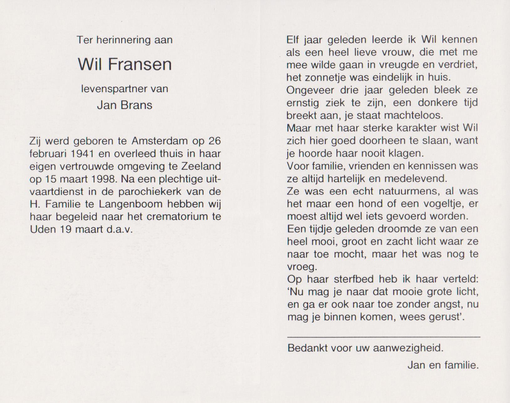 Bidprentje WilFransen