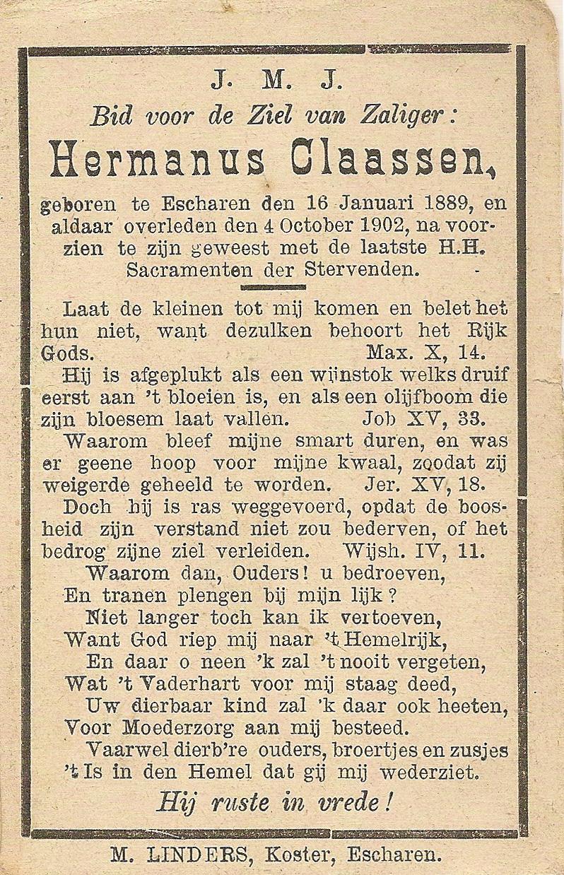 Bidprentje HermanusClaassen