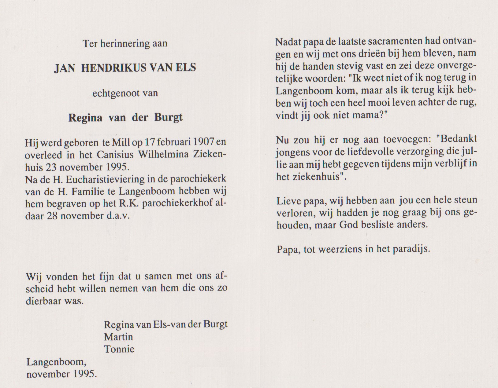 Bidprentje Jan HendrikusEls