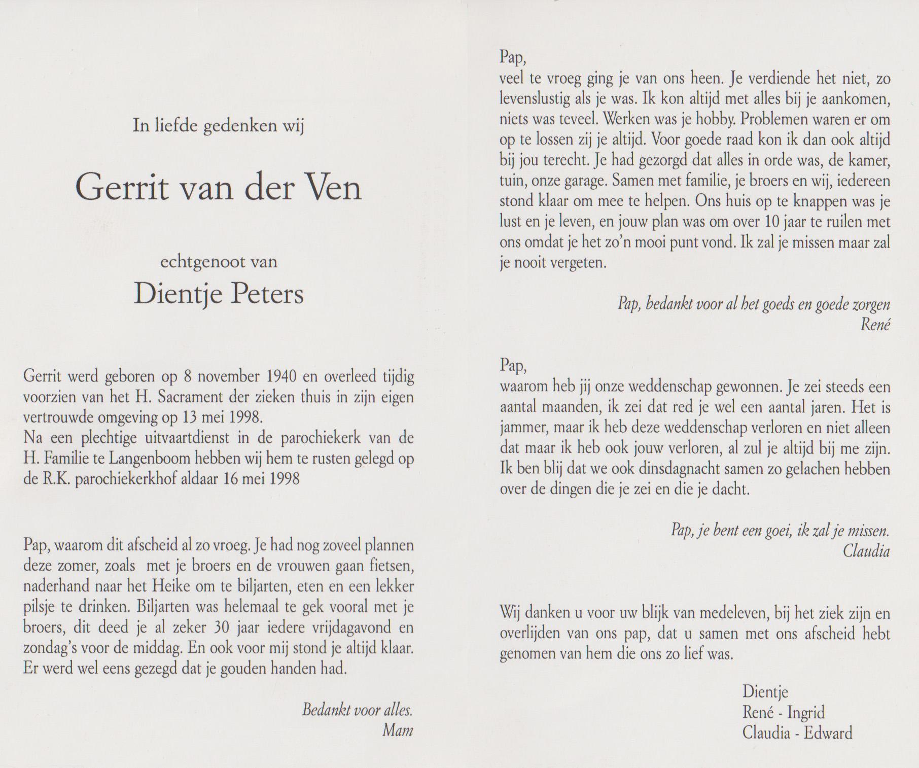 Bidprentje GerritVen
