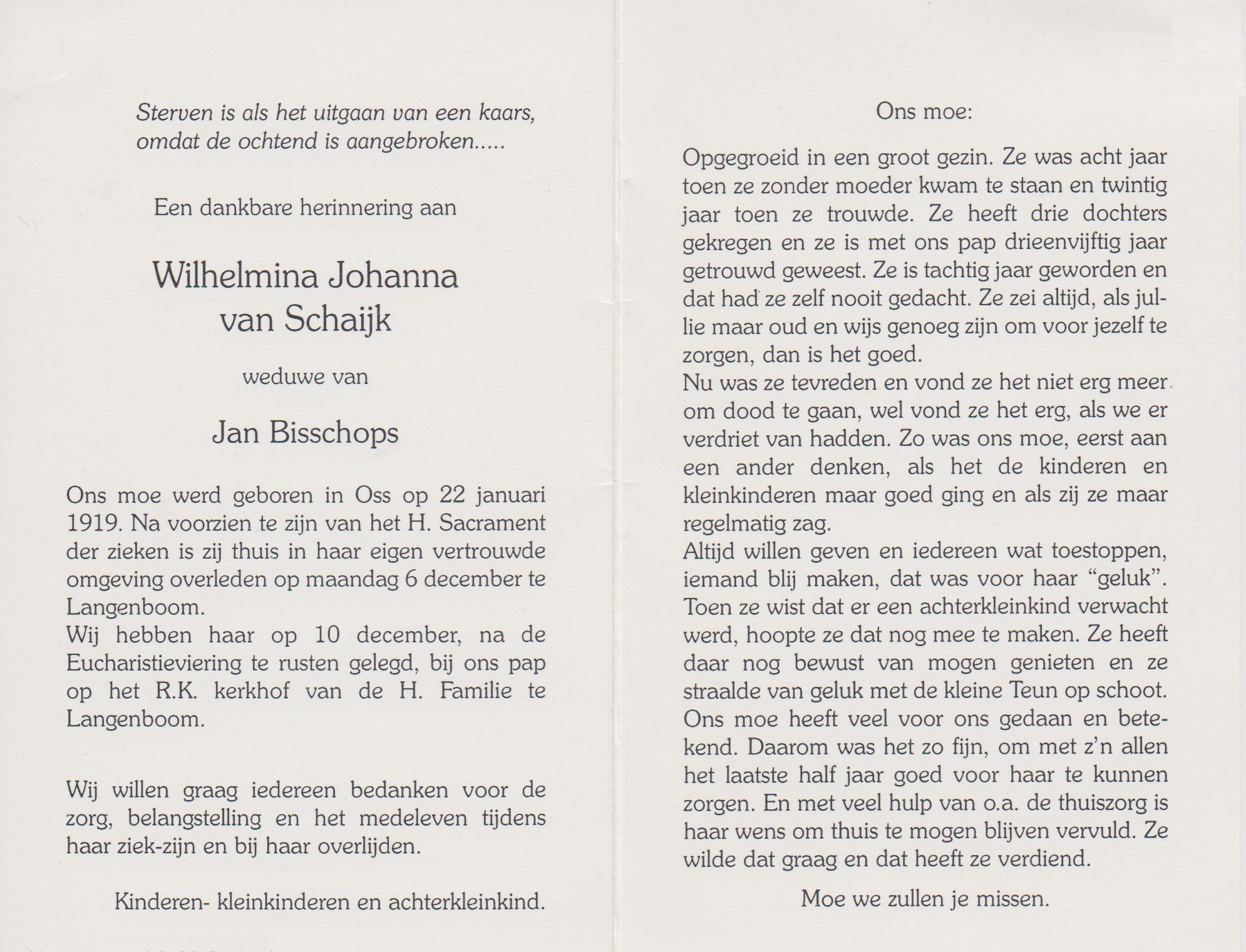 Bidprentje Wilhelmina JohannaSchaijk