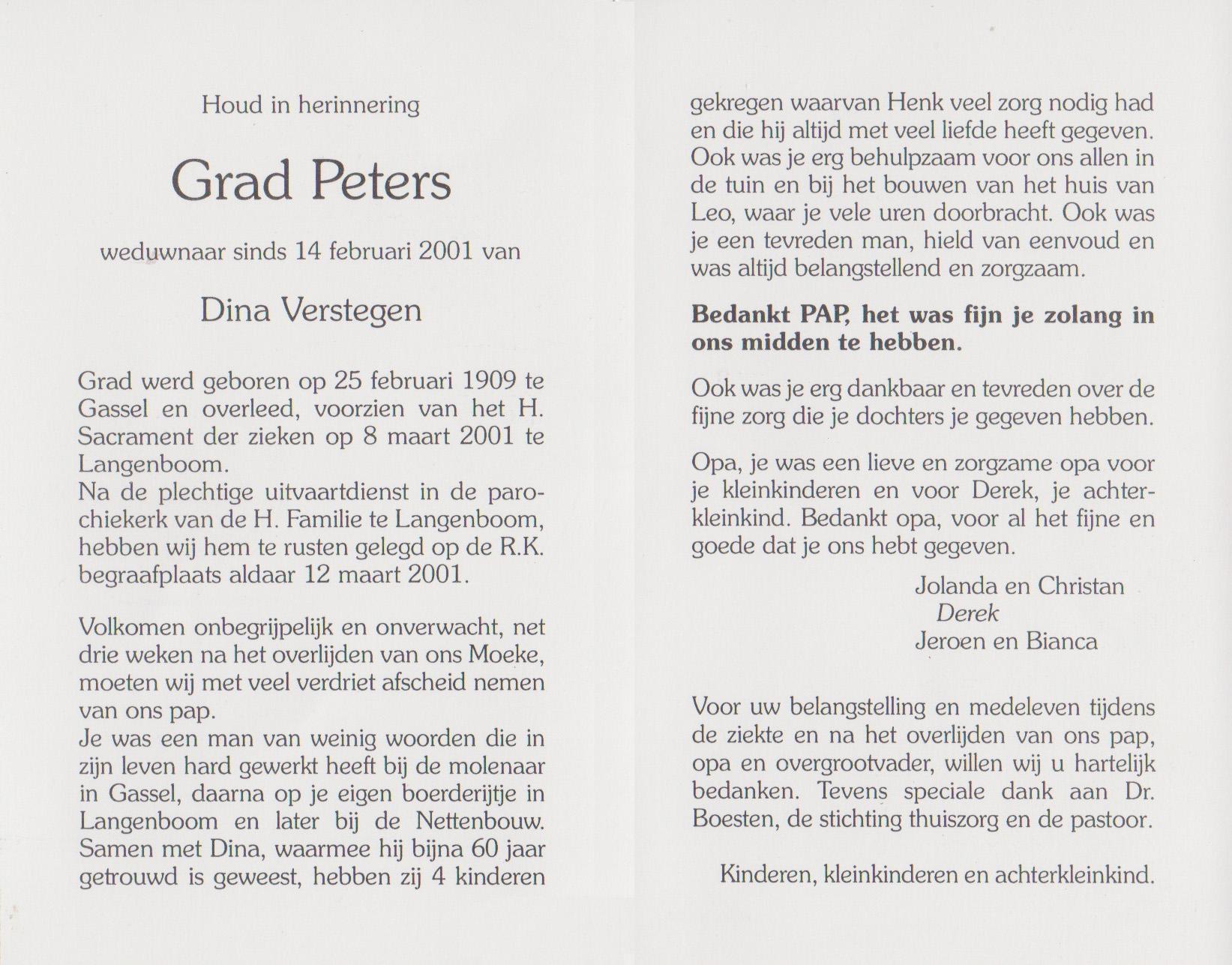Bidprentje Gerardus LaurentiusPeters