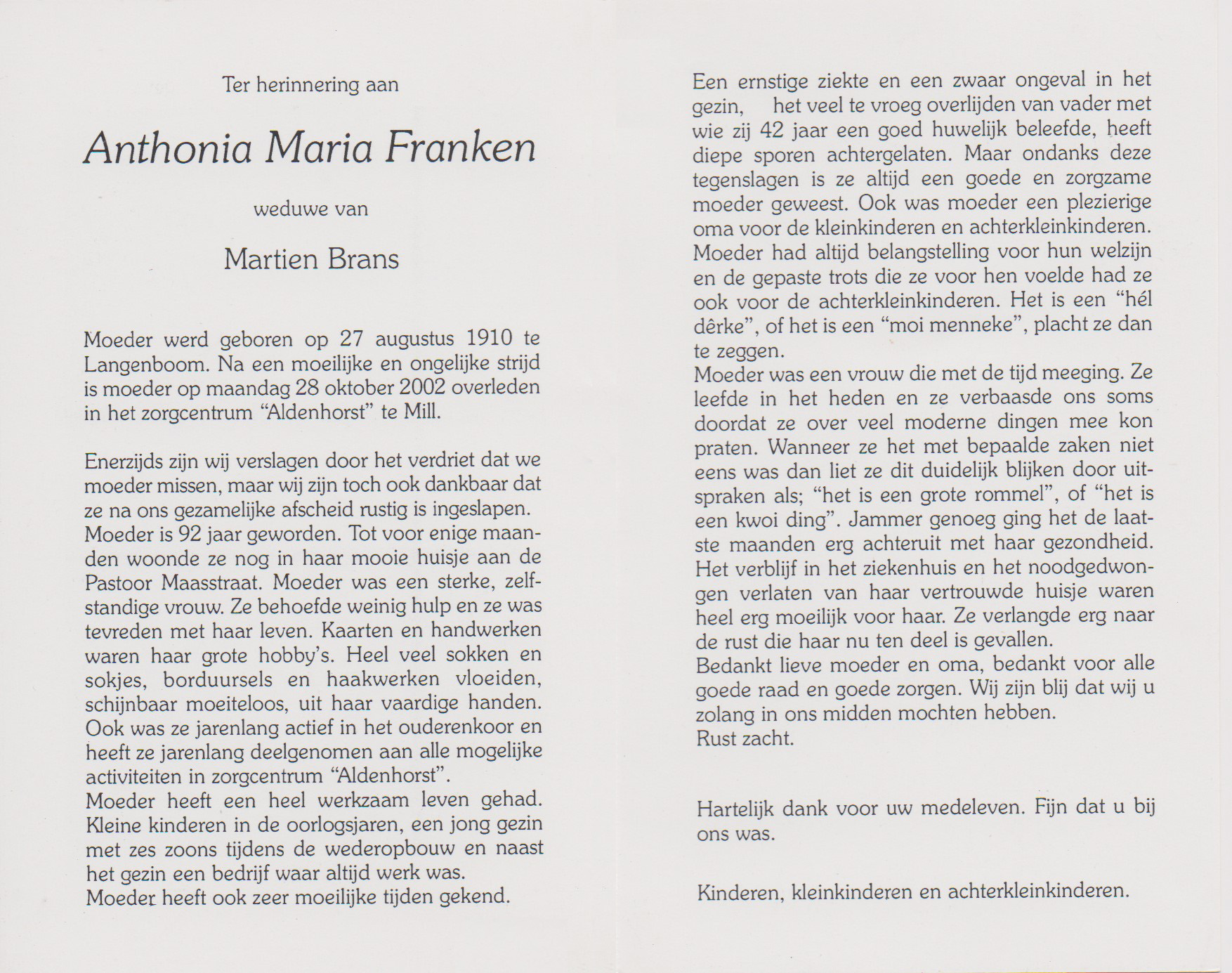 Bidprentje Antonia MariaFranken