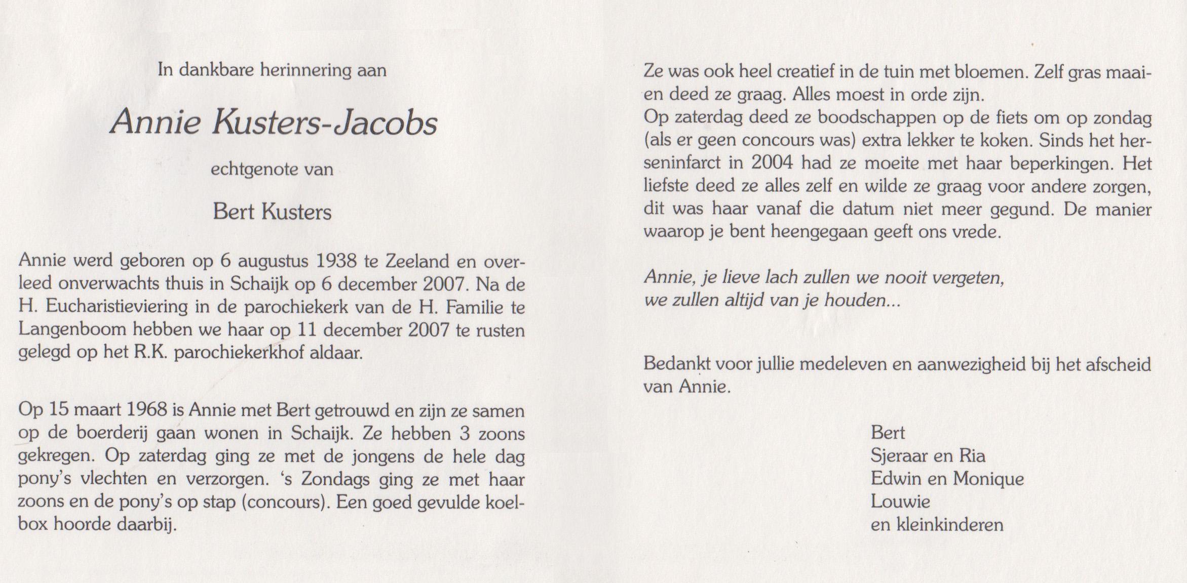 Bidprentje Antonia A.M.Jacobs
