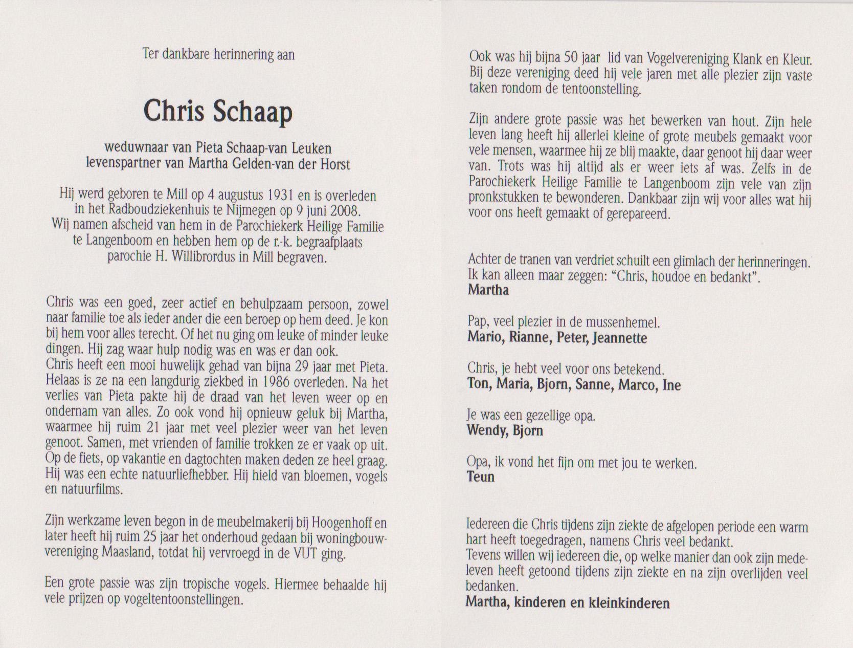Bidprentje ChrisSchaap