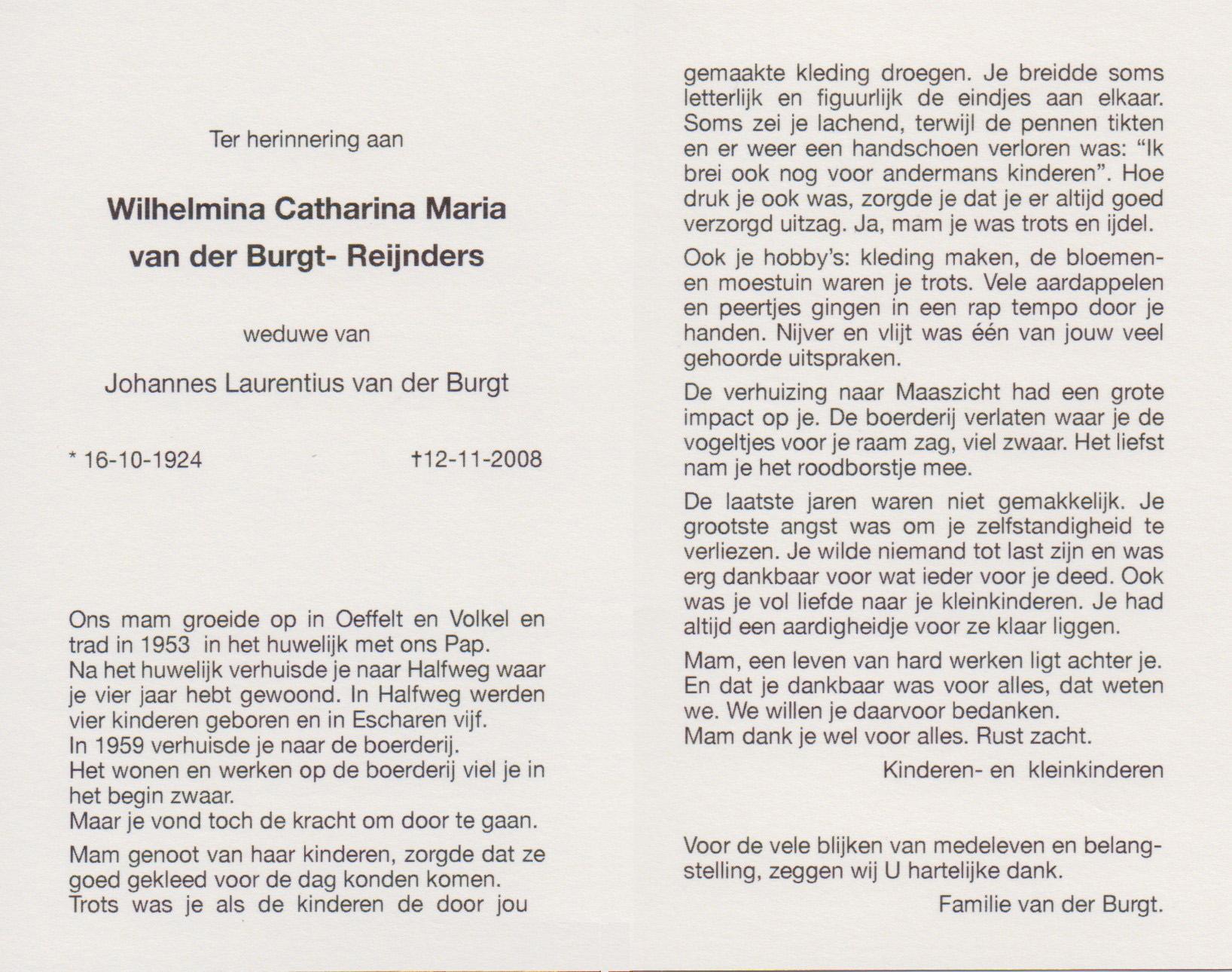 Bidprentje Wilma Catharina MariaReijnders
