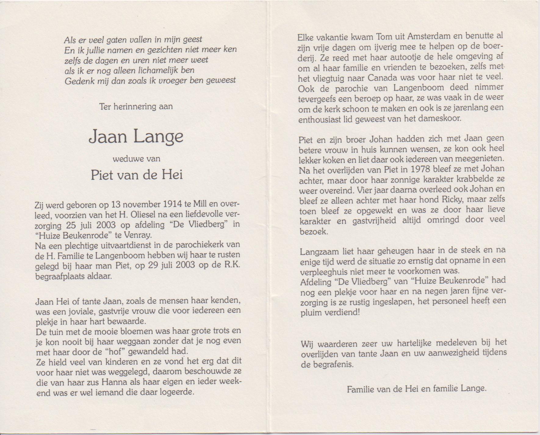 Bidprentje Adriana JohannaLange