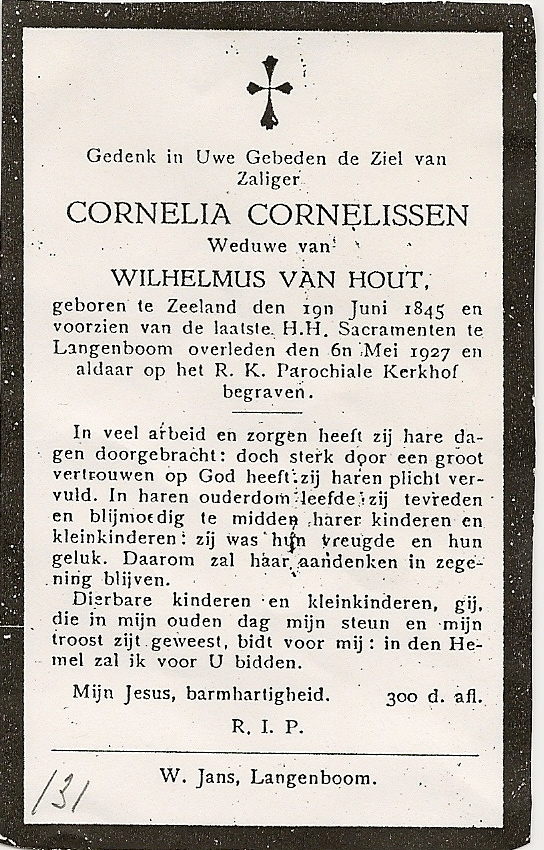 Bidprentje CorneliaCornelissen