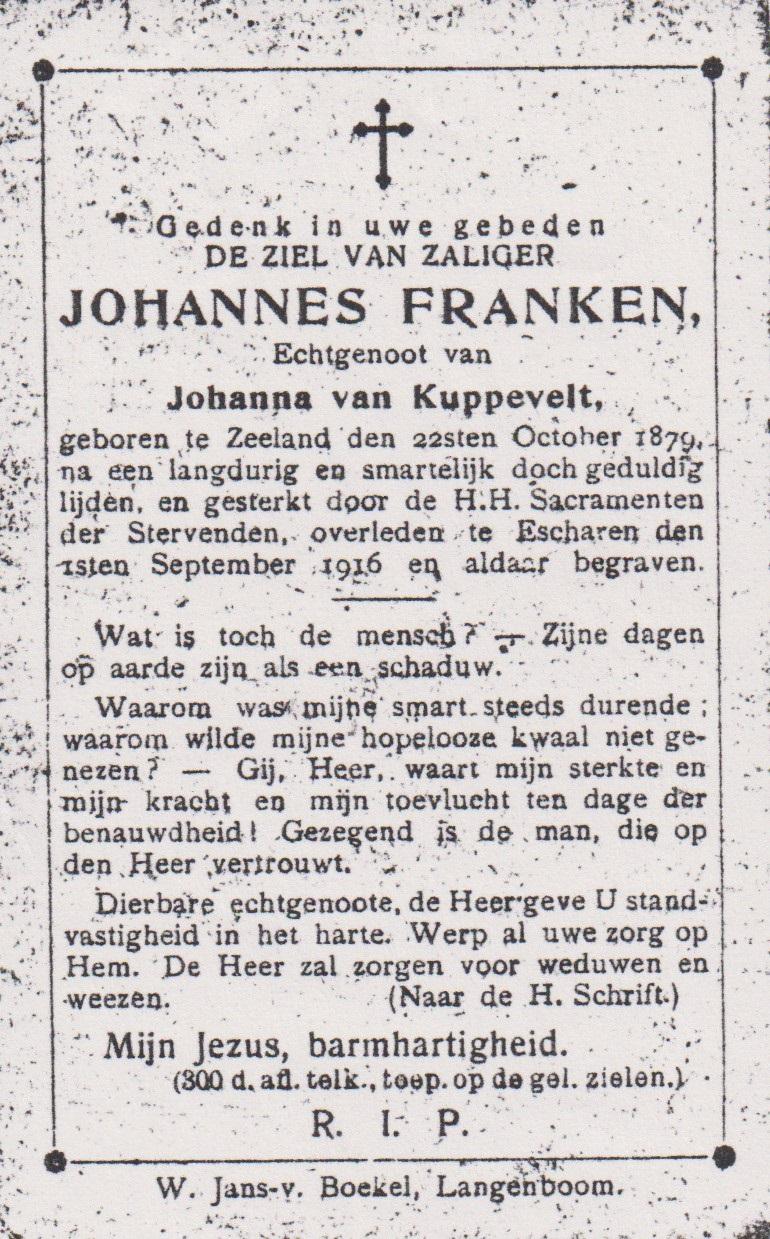 Bidprentje JohannesFranken