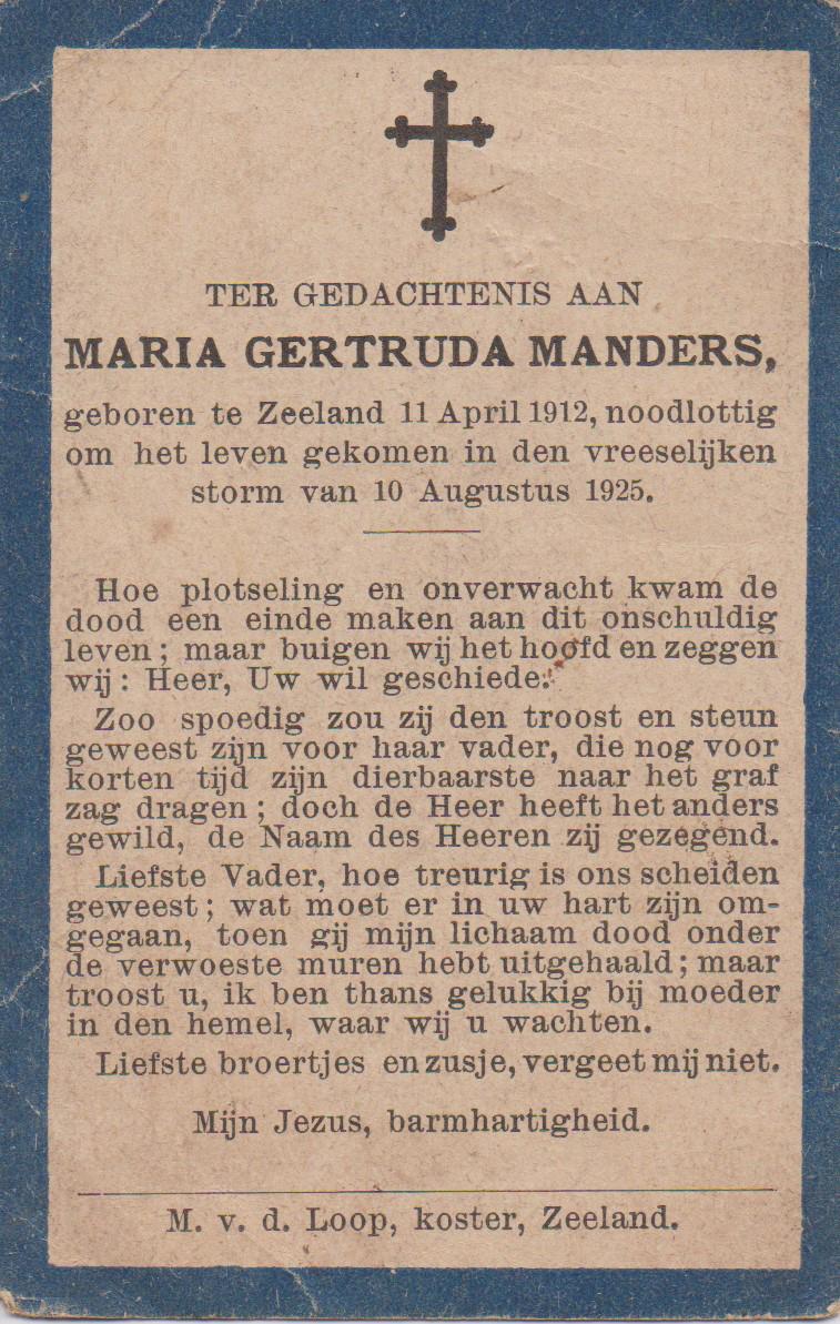 Bidprentje Maria GertrudaManders
