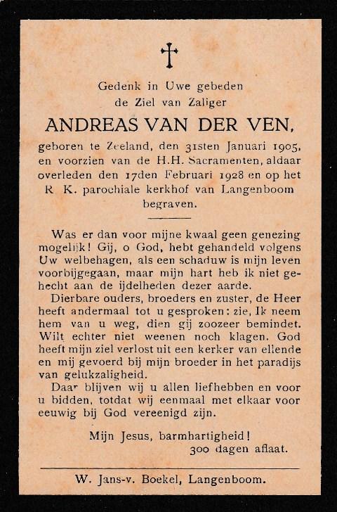 Bidprentje AndreasVen