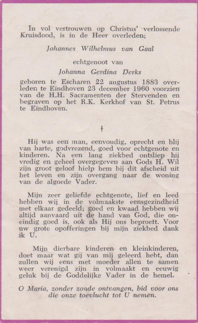 Bidprentje Johannes WilhelmusGaal