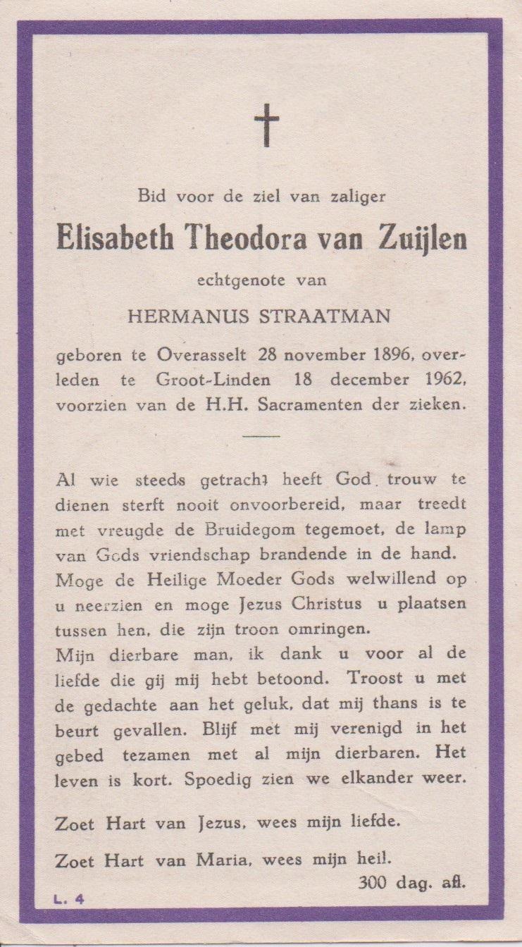 Bidprentje Elisabeth TheodoraZuijlen