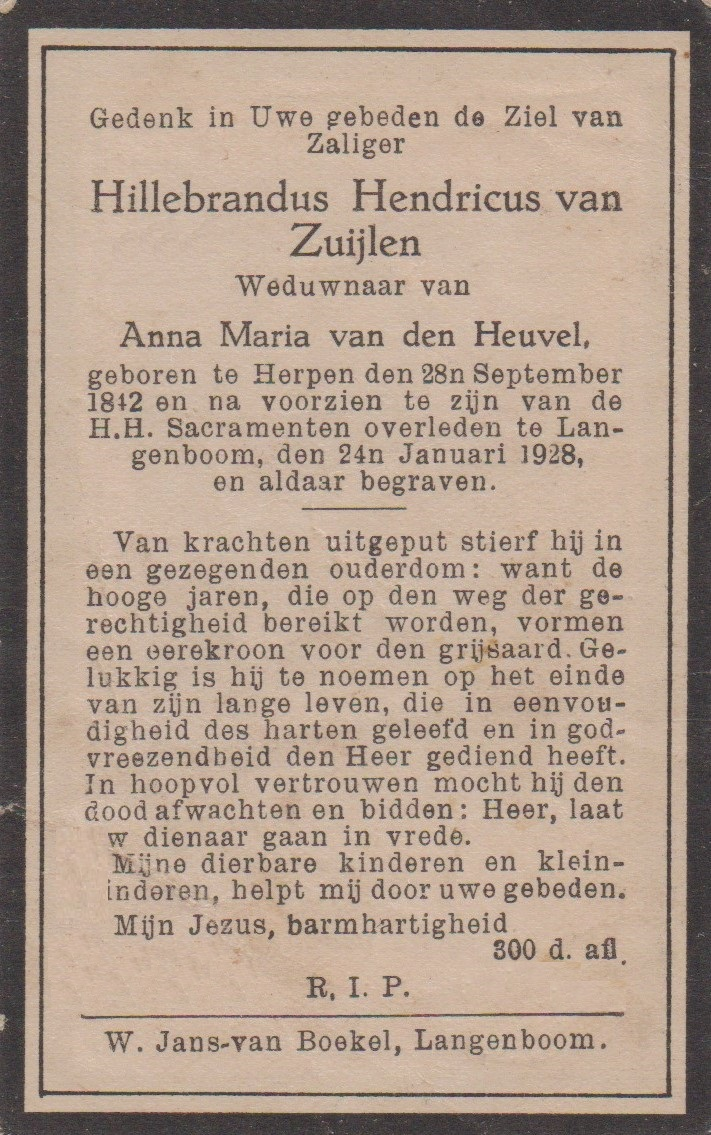 Bidprentje Hillebrandus H.Zuijlen