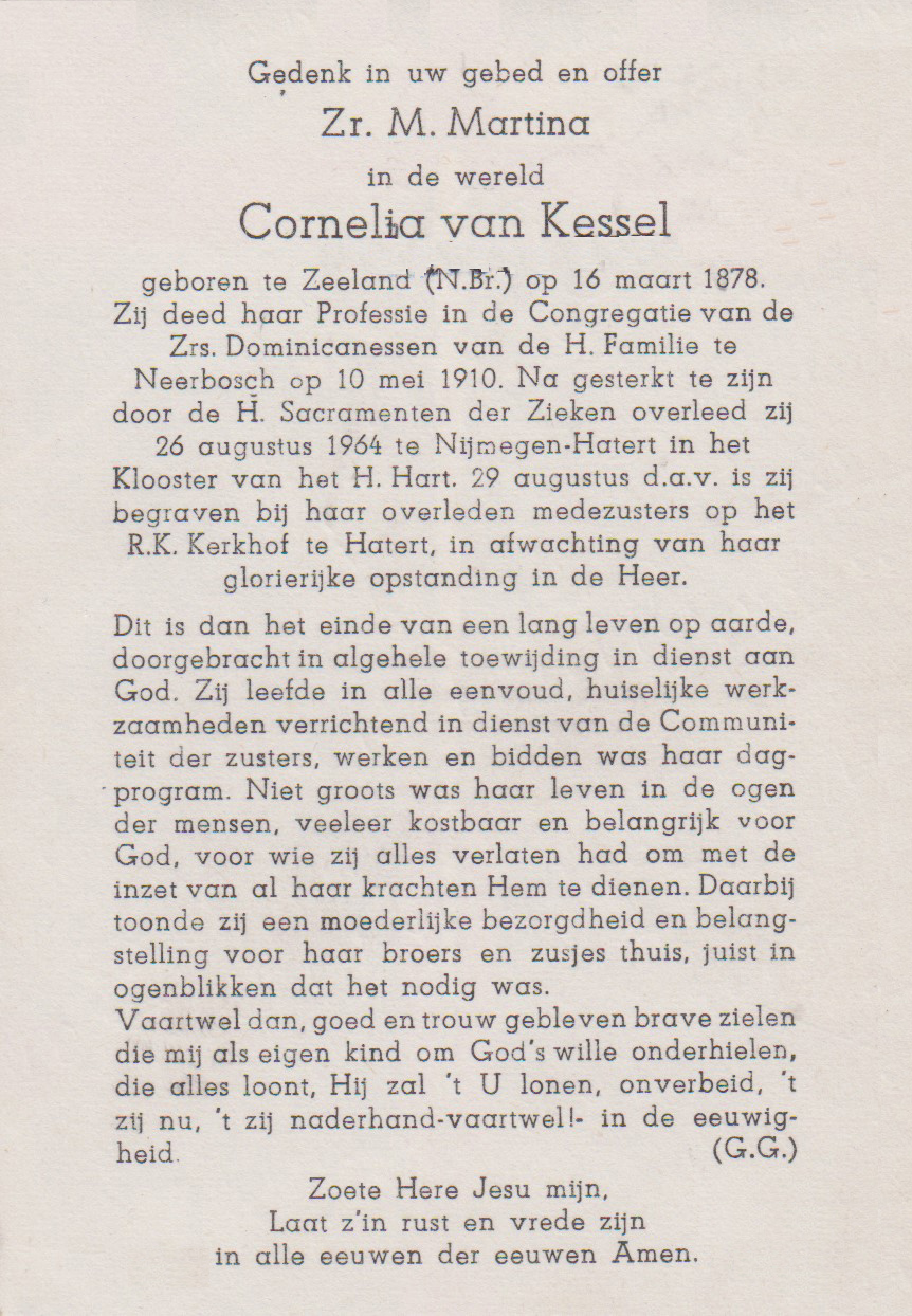 Bidprentje CorneliaKessel