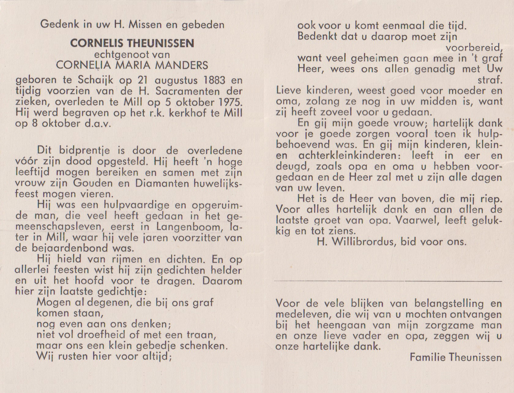 Bidprentje CornelisTheunissen