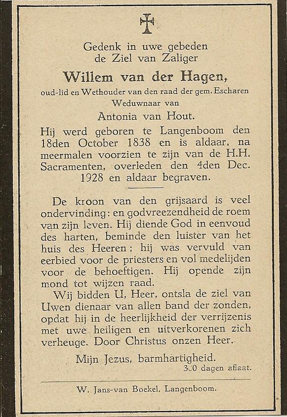Bidprentje WillemHagen