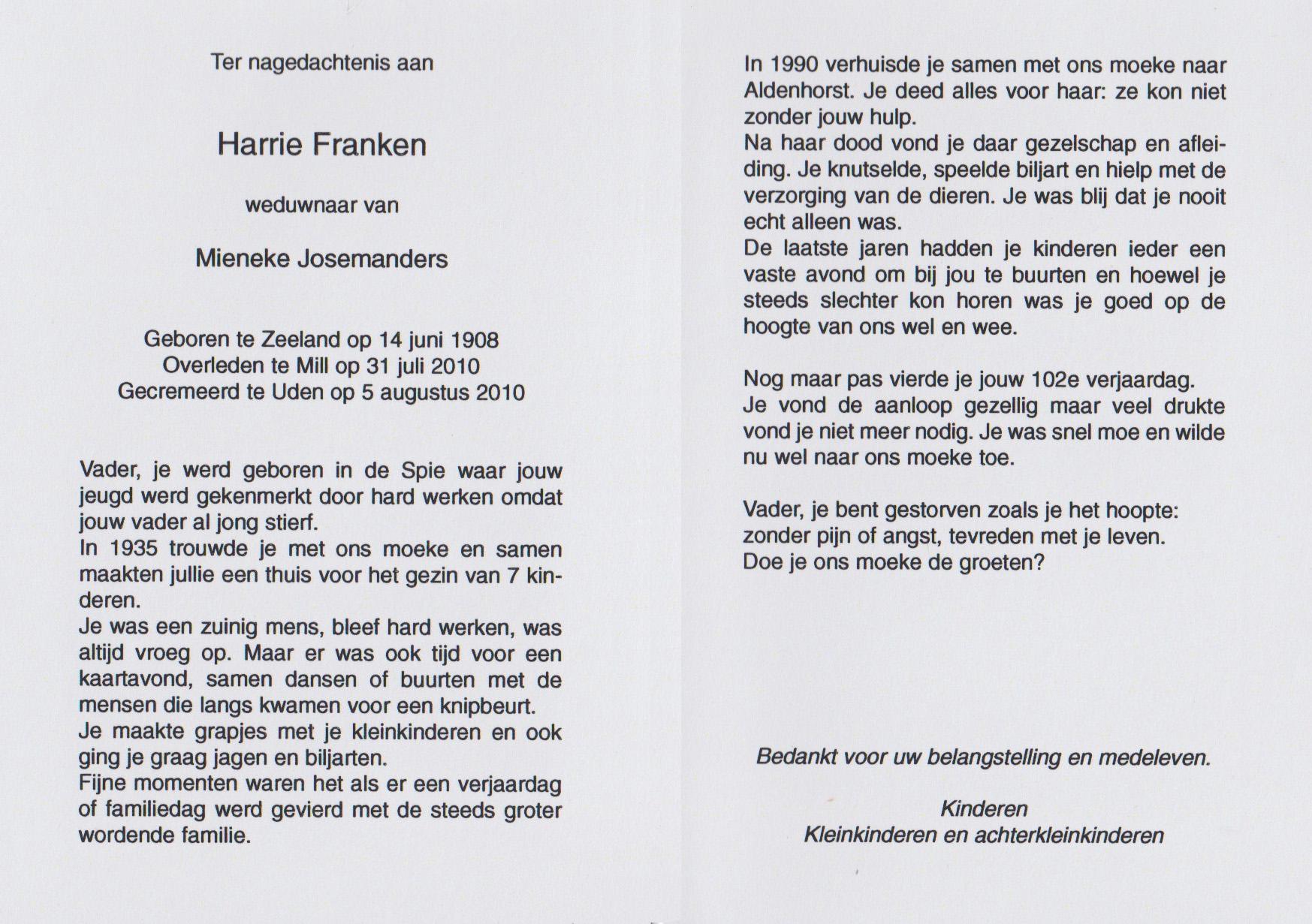 Bidprentje Henricus NicolaasFranken