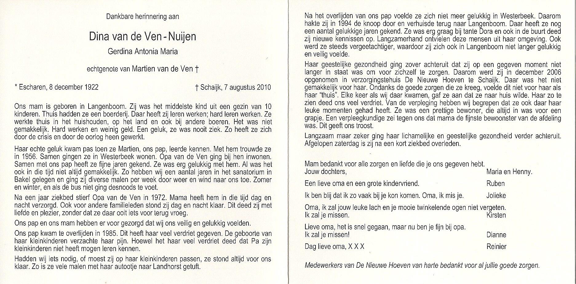 Bidprentje Gerdina Antonia MariaNuijen