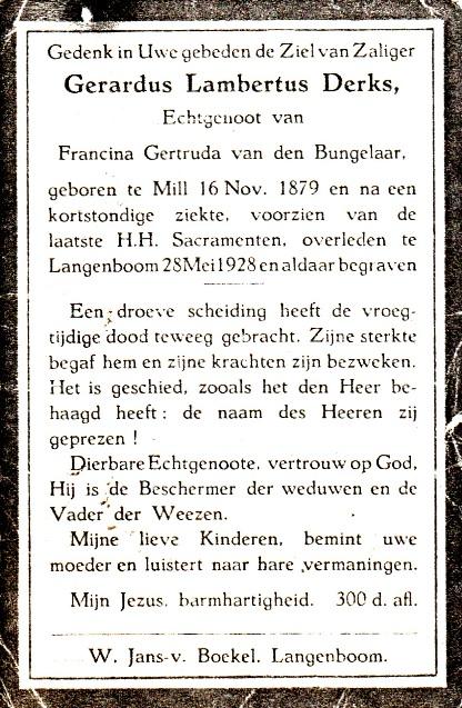 Bidprentje Gerardus LambertusDerks