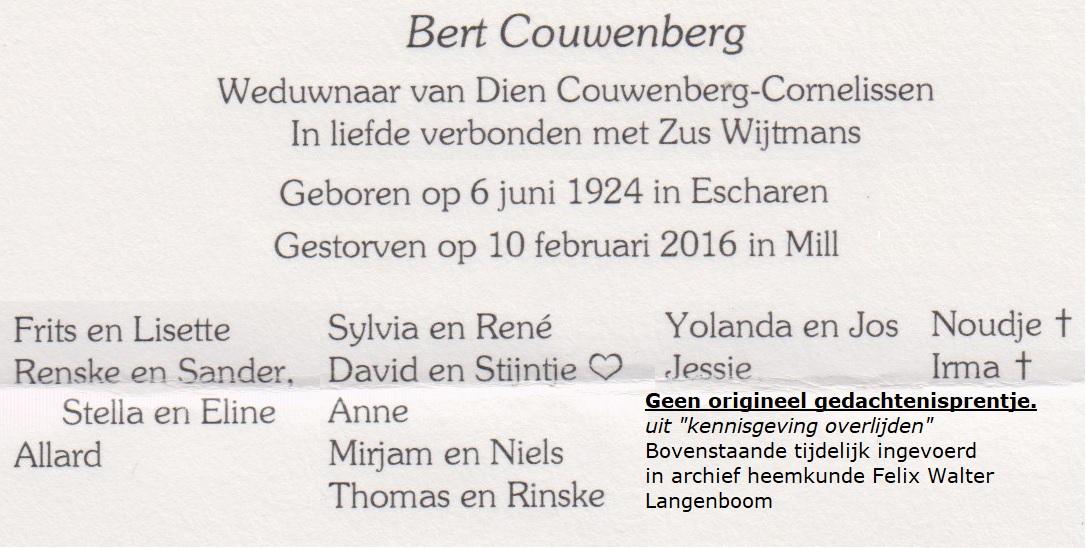 Bidprentje Albertus HendricusCouwenberg
