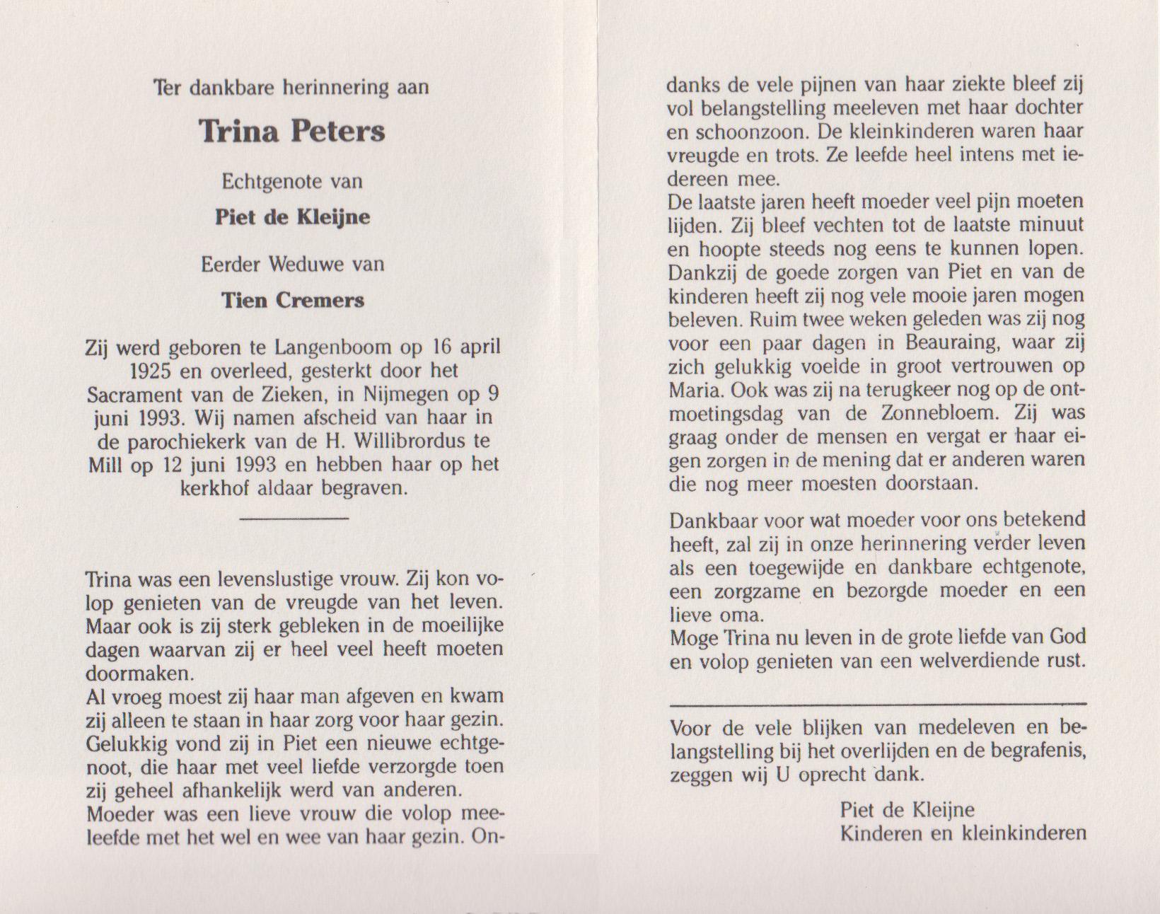 Bidprentje Catharina Wilh. (Trina)Peters