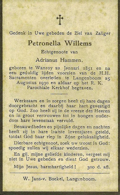 Bidprentje PetronellaWillems