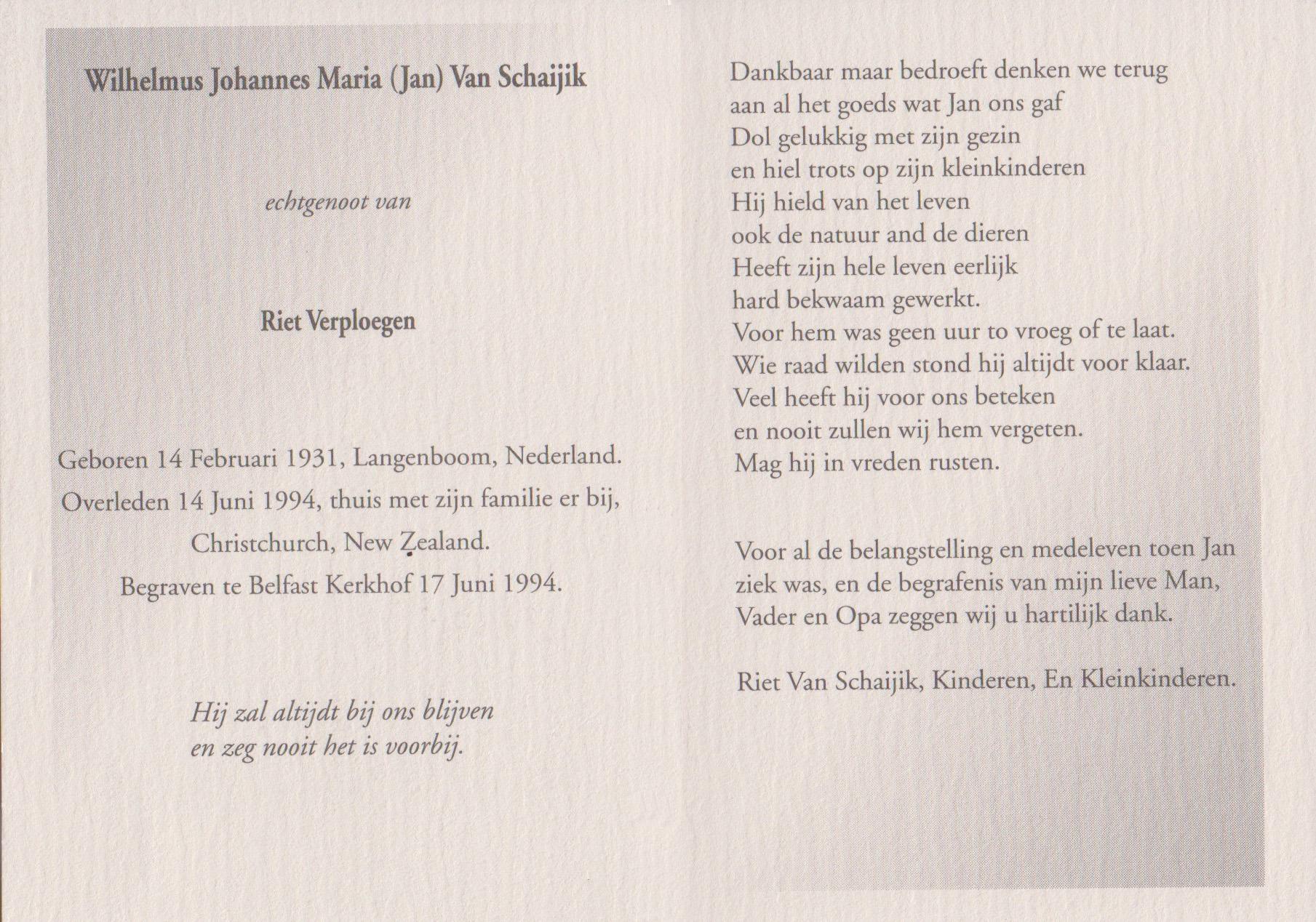 Bidprentje Joannes Wilhelmus MariaSchaijk