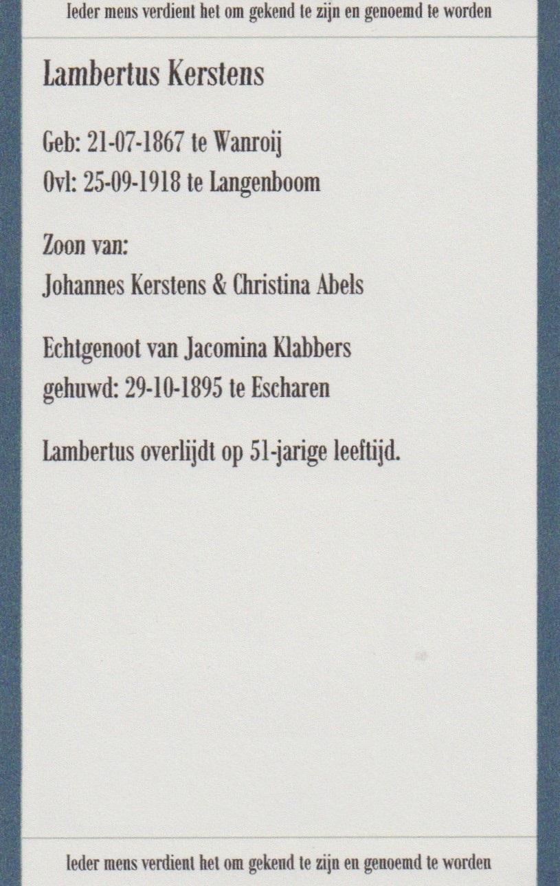 Bidprentje LambertusKerstens
