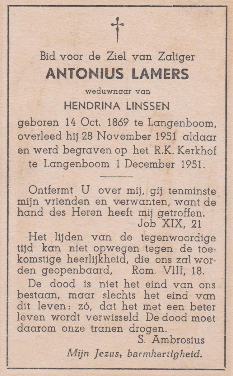 Bidprentje AntoniusLamers