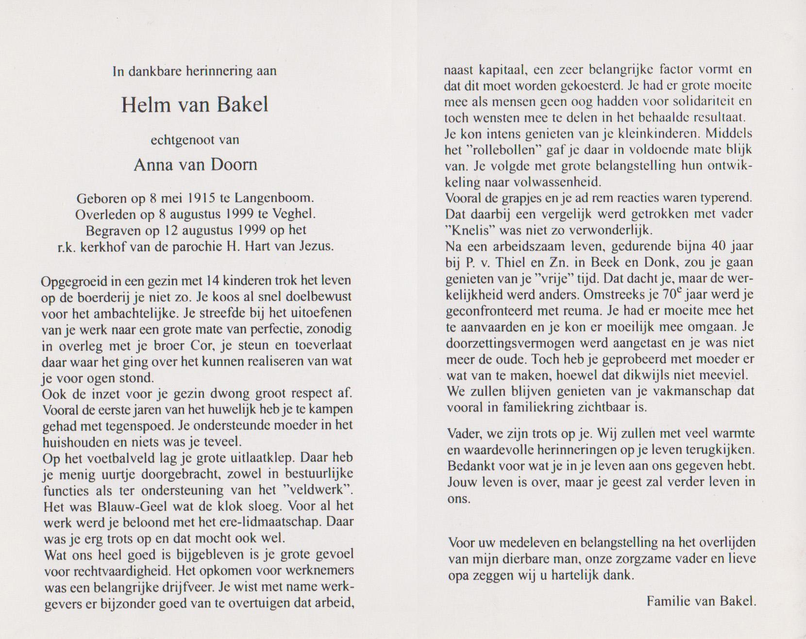 Bidprentje WilhelmusBakel
