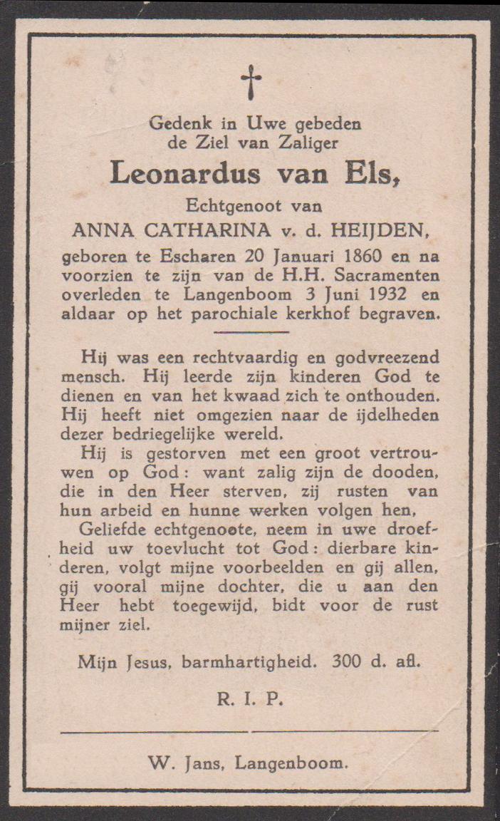 Bidprentje LeonardusEls
