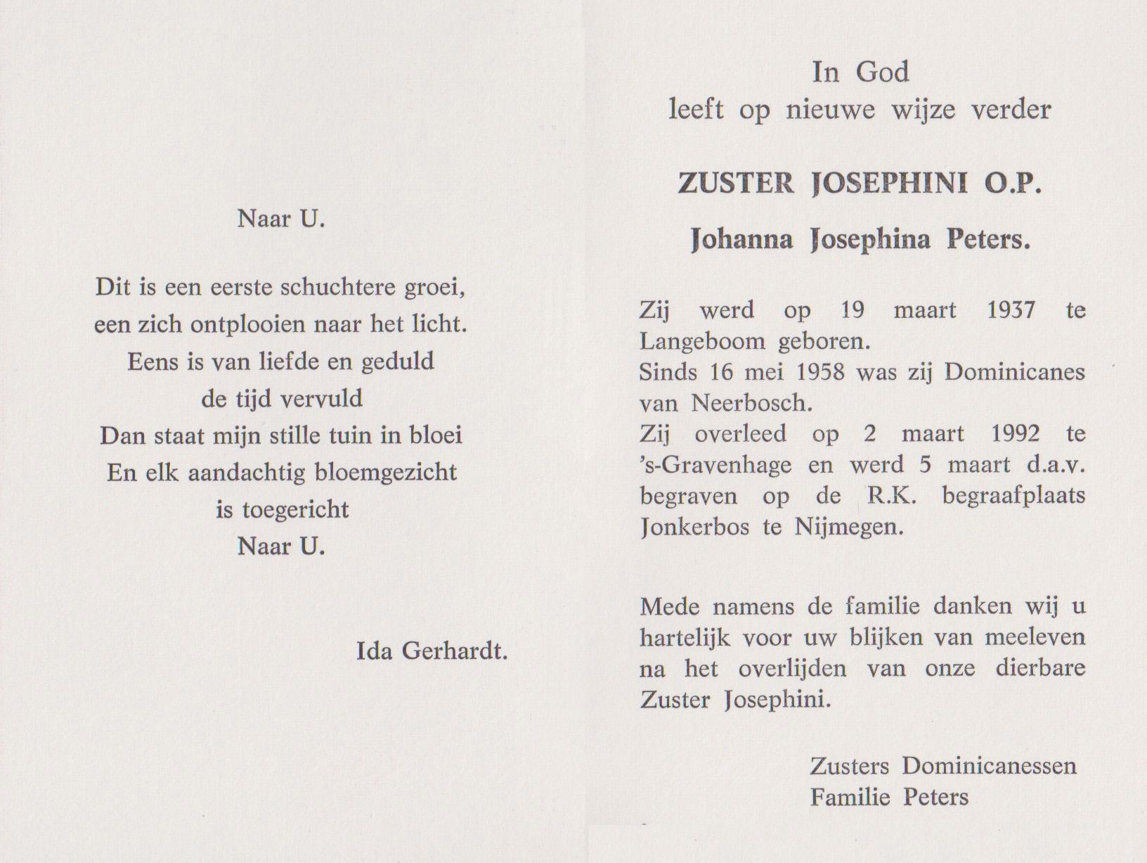 Bidprentje Johanna JosephinaPeters