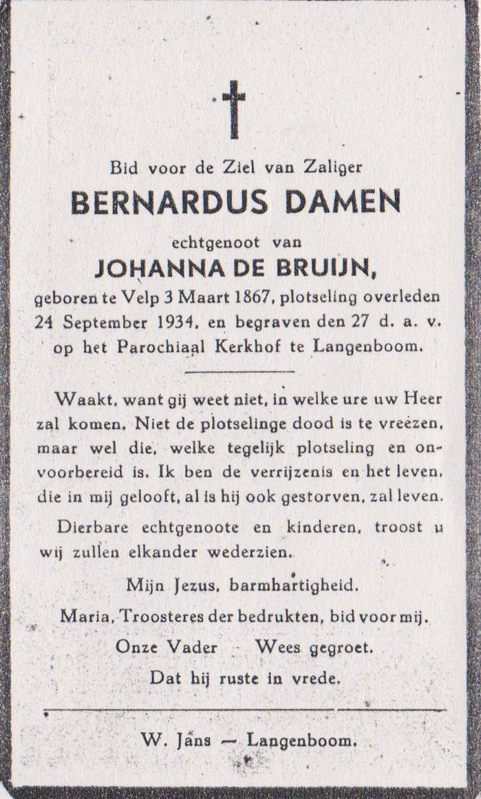 Bidprentje BernardusDamen