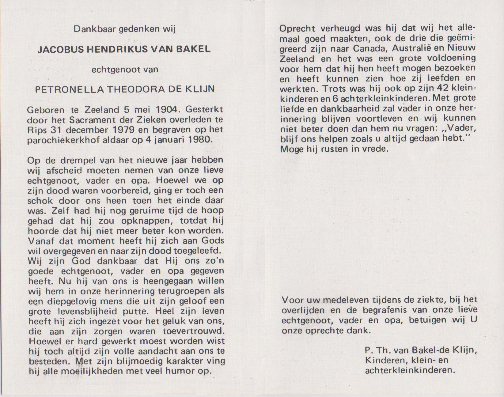 Bidprentje Jacobus HenricusBakel