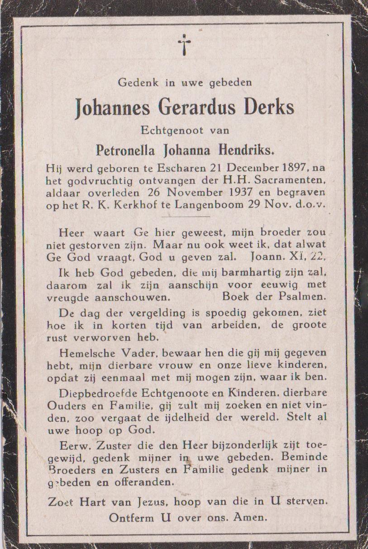 Bidprentje Johannes GerardusDerks