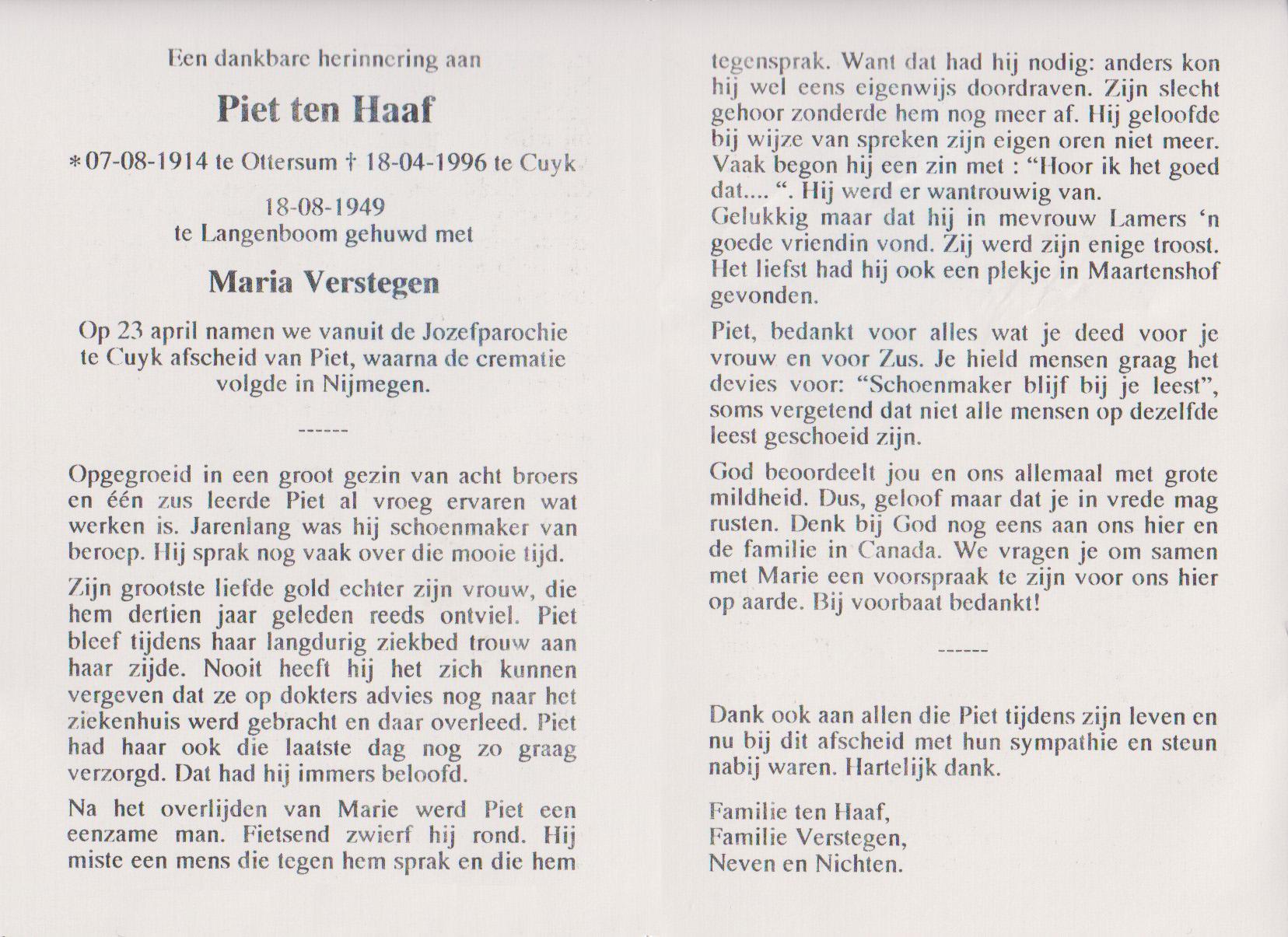 Bidprentje Petrus Cornelis Gerard.Haaf