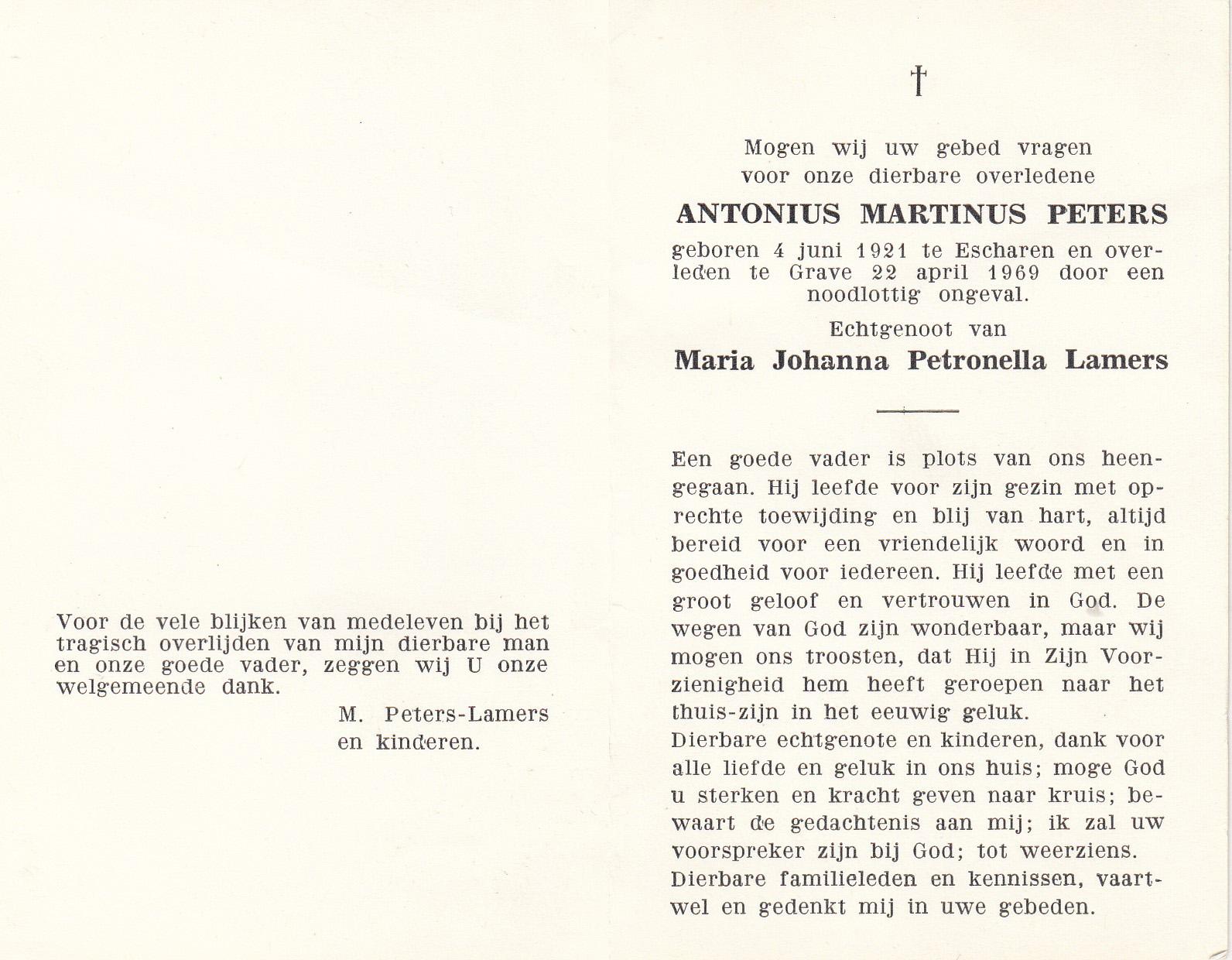 Bidprentje Antonius MartinusPeters