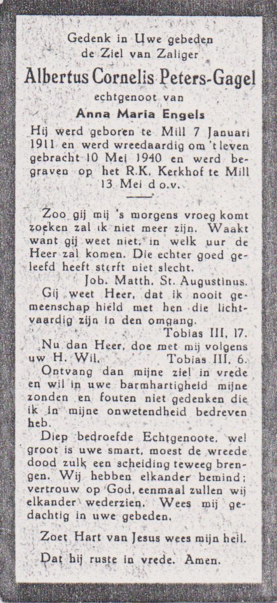 Bidprentje Albertus CornelisPeters Gagel
