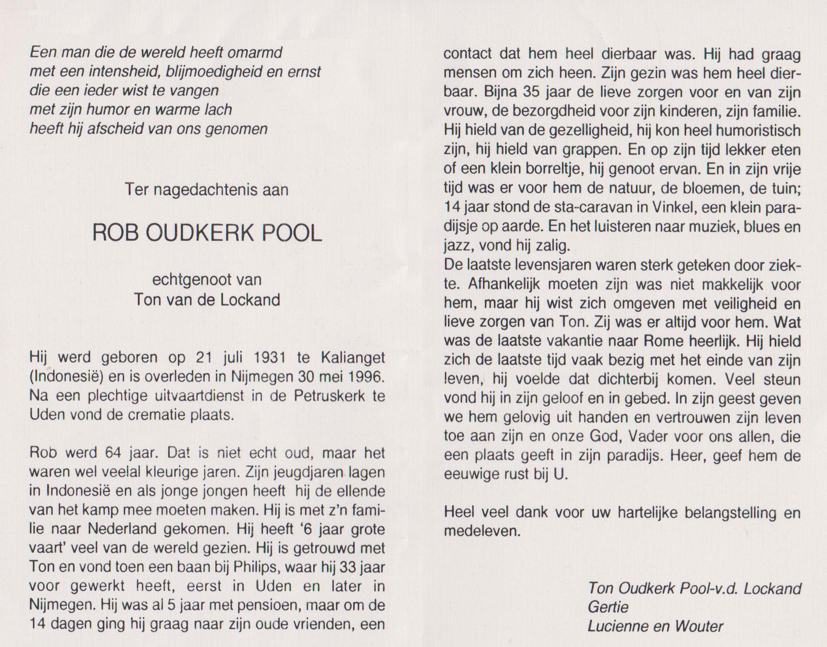 Bidprentje Robert Wolter HenriOudkerk - Pool