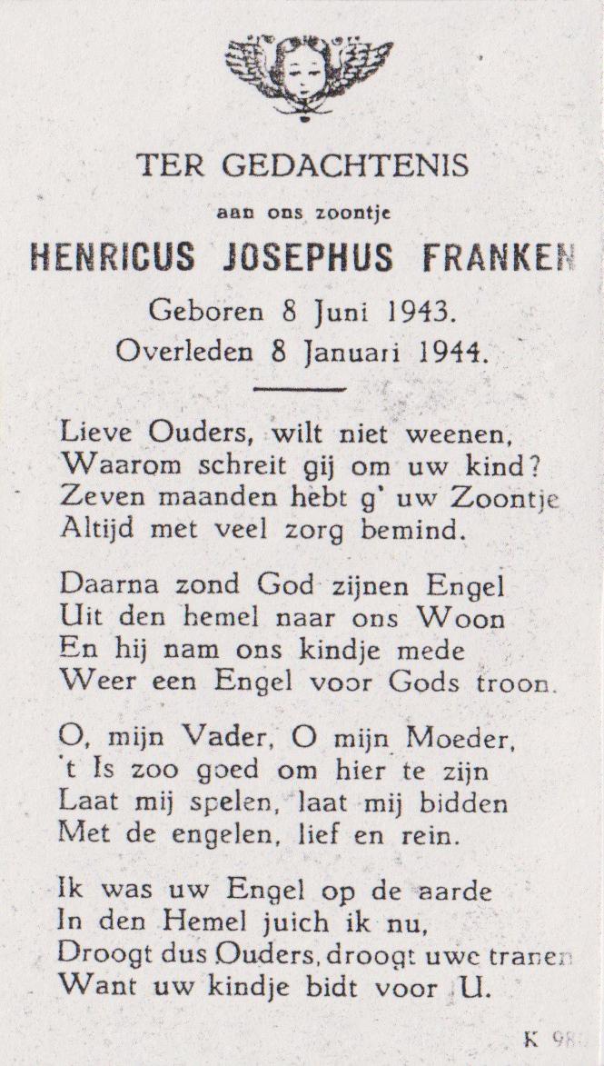 Bidprentje Henricus JosephusFranken