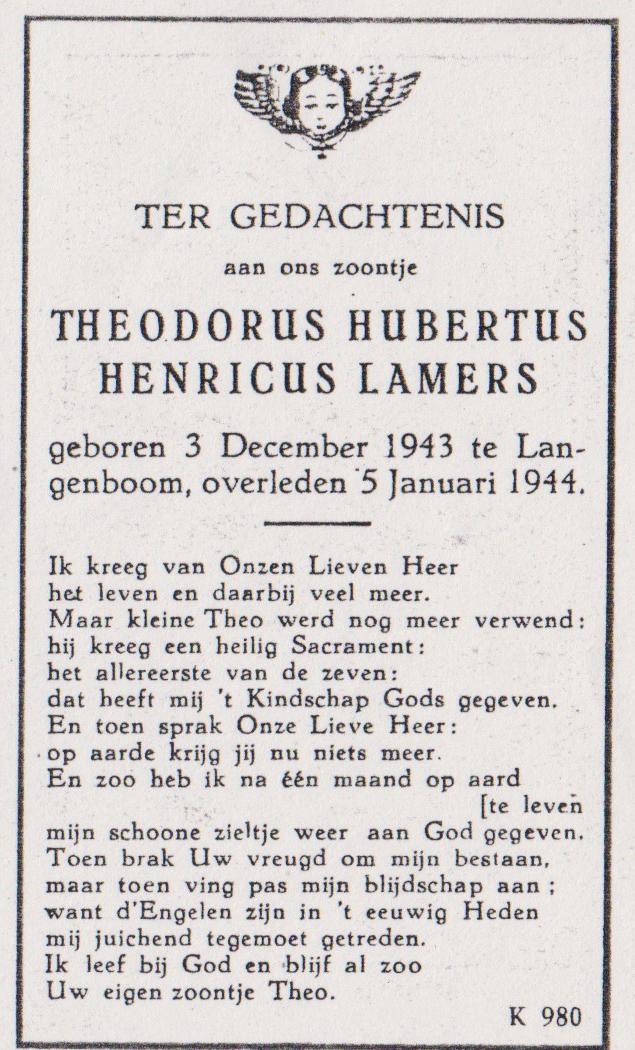 Bidprentje Theodorus Hubertus Henr.Lamers