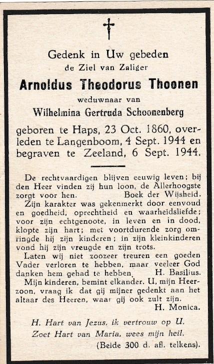 Bidprentje Arnoldus TheodorusThoonen
