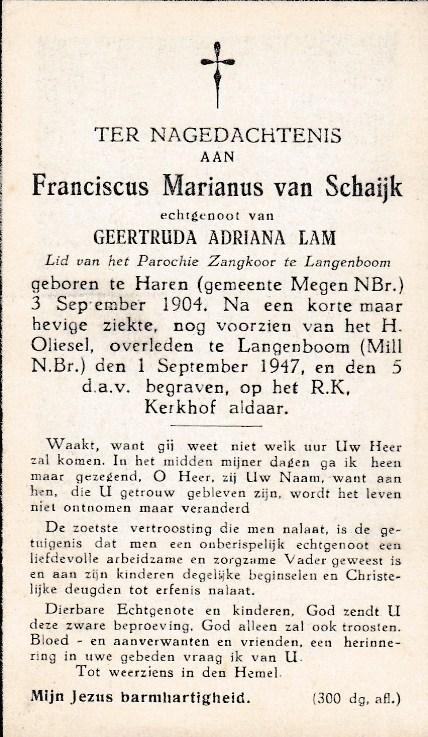 Bidprentje Franciscus MarianusSchaijk