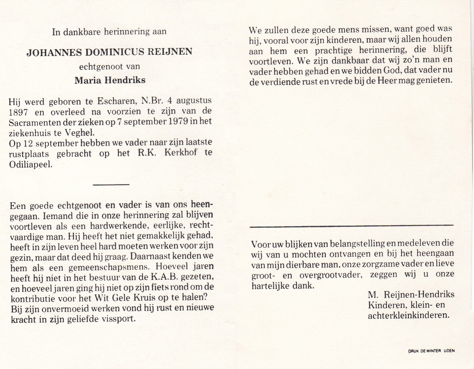 Bidprentje Johannes DominicusReijnen