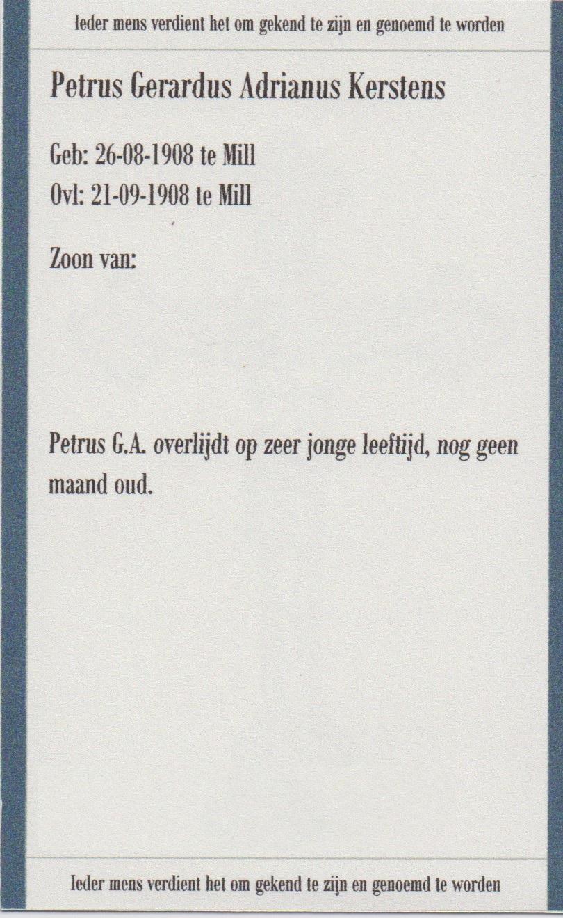 Bidprentje Petrus Gerardus AdrianusKerstens