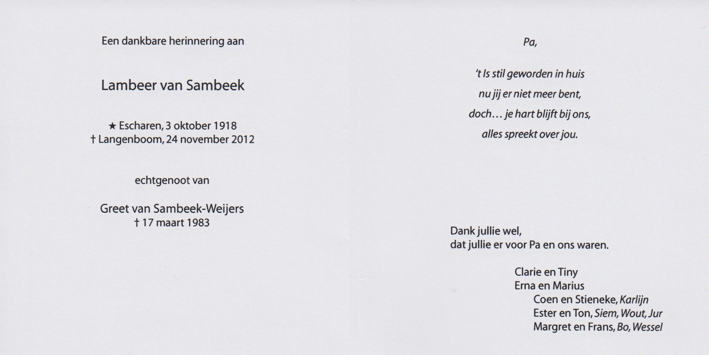 Bidprentje LambertusSambeek