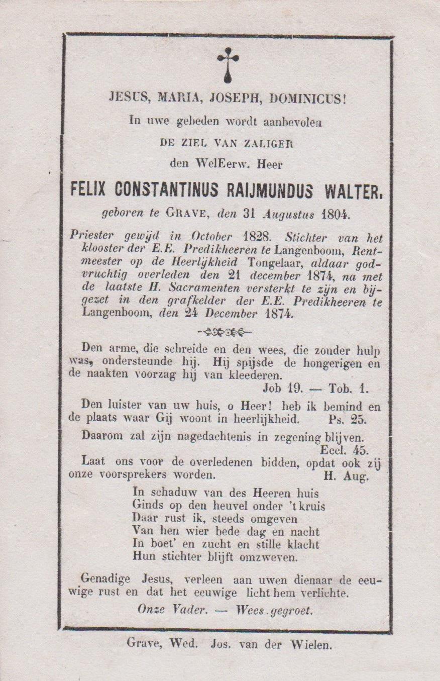 Bidprentje Felix Const. RaymundusWalter