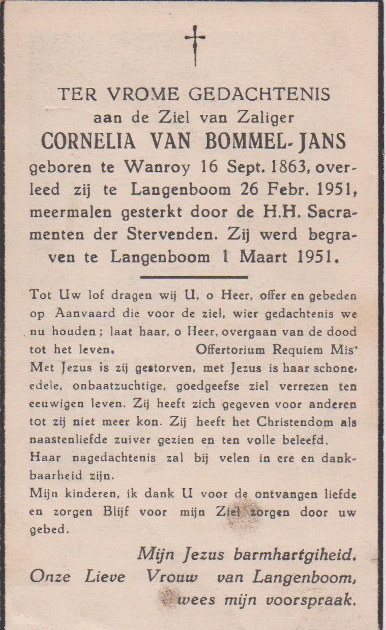 Bidprentje CorneliaJans