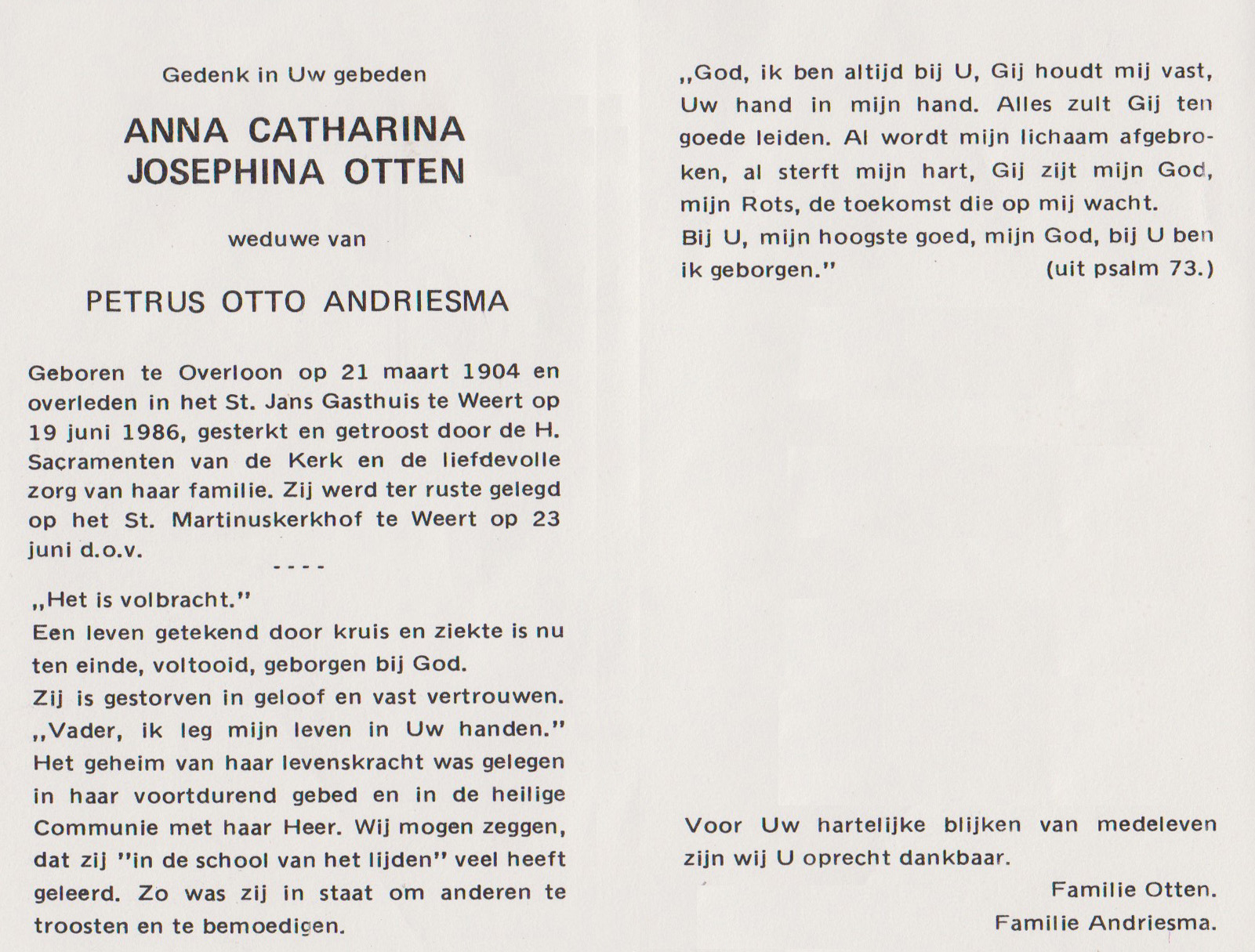 Bidprentje Anna Cath.Joseph.Otten